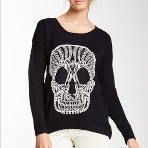 Black Sweater with Embroidered Skull